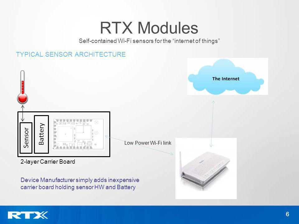 6 TYPICAL SENSOR ARCHITECTURE RTX Modules Self-contained Wi-Fi sensors for the internet of things 2-layer Carrier Board Battery Sensor Low Power Wi-Fi