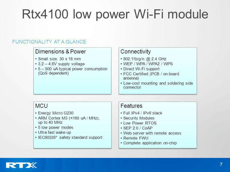 Rtx4100 low power Wi-Fi module 7 FUNCTIONALITY AT A GLANCE