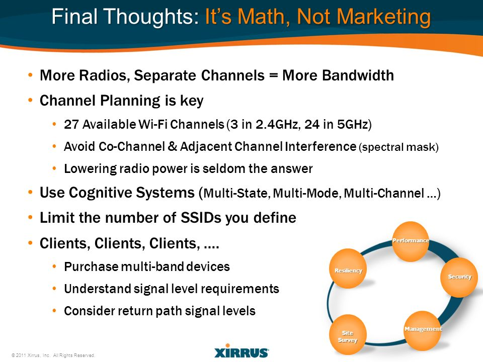 Performance Security Resiliency Management SiteSurvey Final Thoughts: Its Math, Not Marketing © 2011 Xirrus, Inc. All Rights Reserved. More Radios, Se