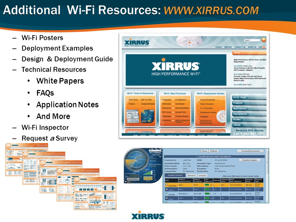 – Wi-Fi Posters – Deployment Examples – Design & Deployment Guide – Technical Resources White Papers FAQs Application Notes And More – Wi-Fi Inspector