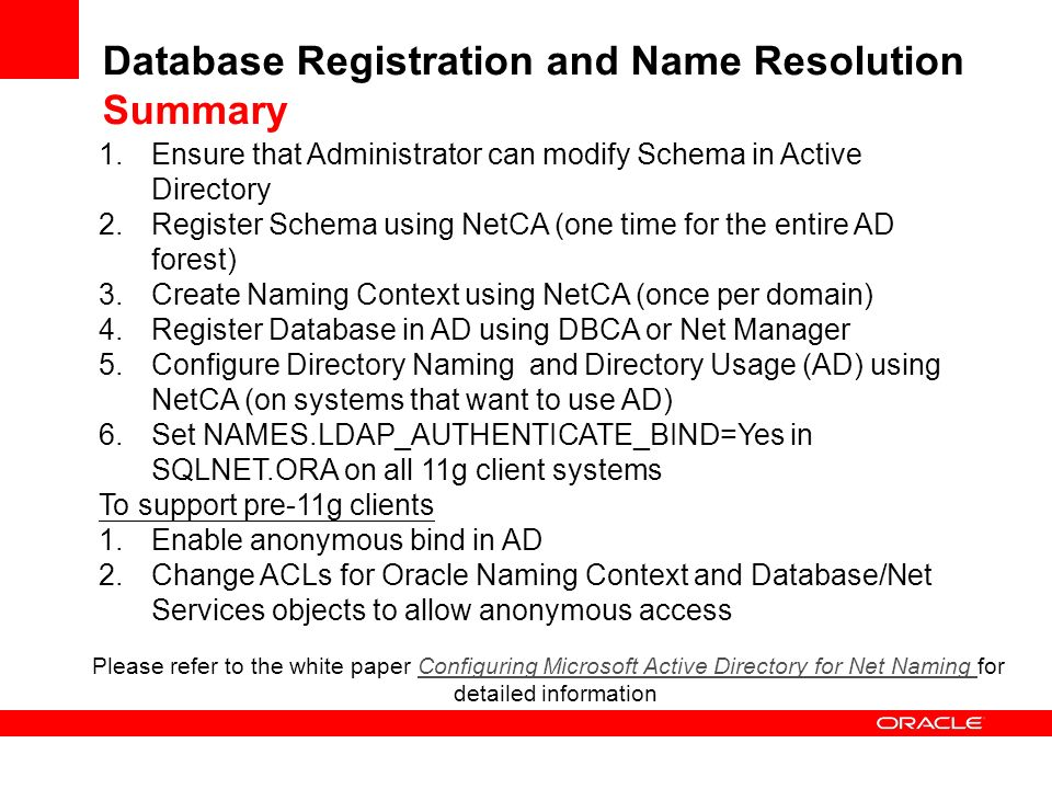 Database Registration and Name Resolution Summary 1.Ensure that Administrator can modify Schema in Active Directory 2.Register Schema using NetCA (one