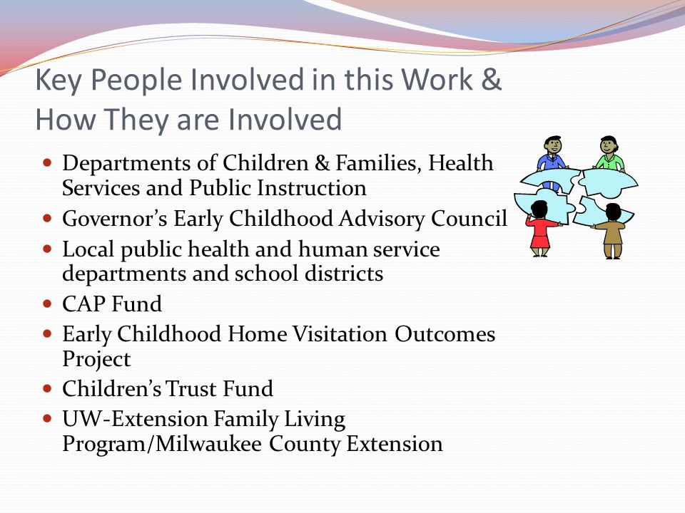 Key People Involved in this Work & How They are Involved Departments of Children & Families, Health Services and Public Instruction Governors Early Ch
