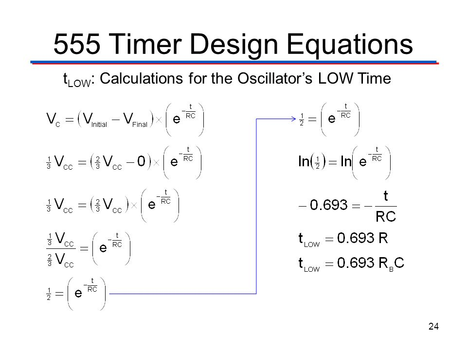 555 Timer Design Equations 24 t LOW : Calculations for the Oscillators LOW Time