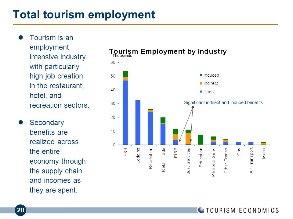 20 Total tourism employment Tourism is an employment intensive industry with particularly high job creation in the restaurant, hotel, and recreation s