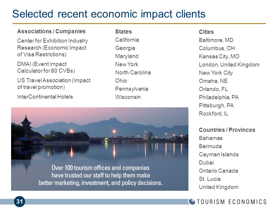 31 Selected recent economic impact clients Cities Baltimore, MD Columbus, OH Kansas City, MO London, United Kingdom New York City Omaha, NE Orlando, F