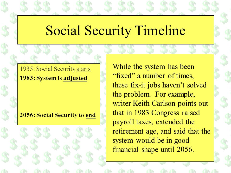 Social Security Timeline While the system has been fixed a number of times, these fix-it jobs havent solved the problem. For example, writer Keith Car