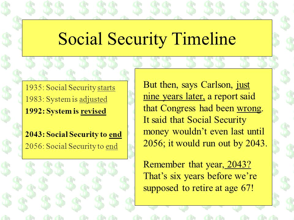 Social Security Timeline But then, says Carlson, just nine years later, a report said that Congress had been wrong. It said that Social Security money