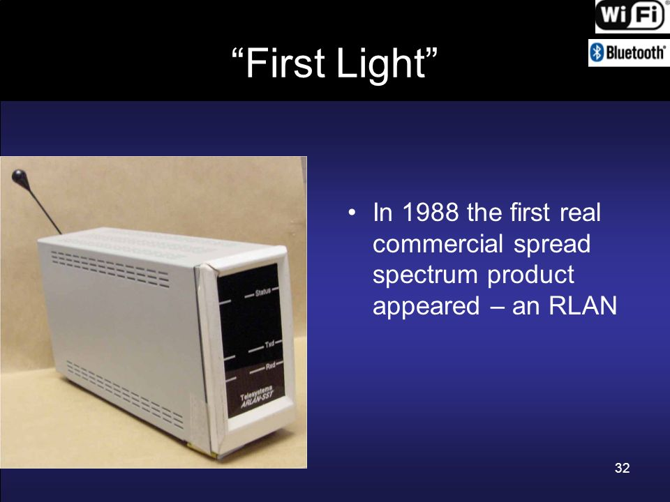 32 First Light In 1988 the first real commercial spread spectrum product appeared – an RLAN