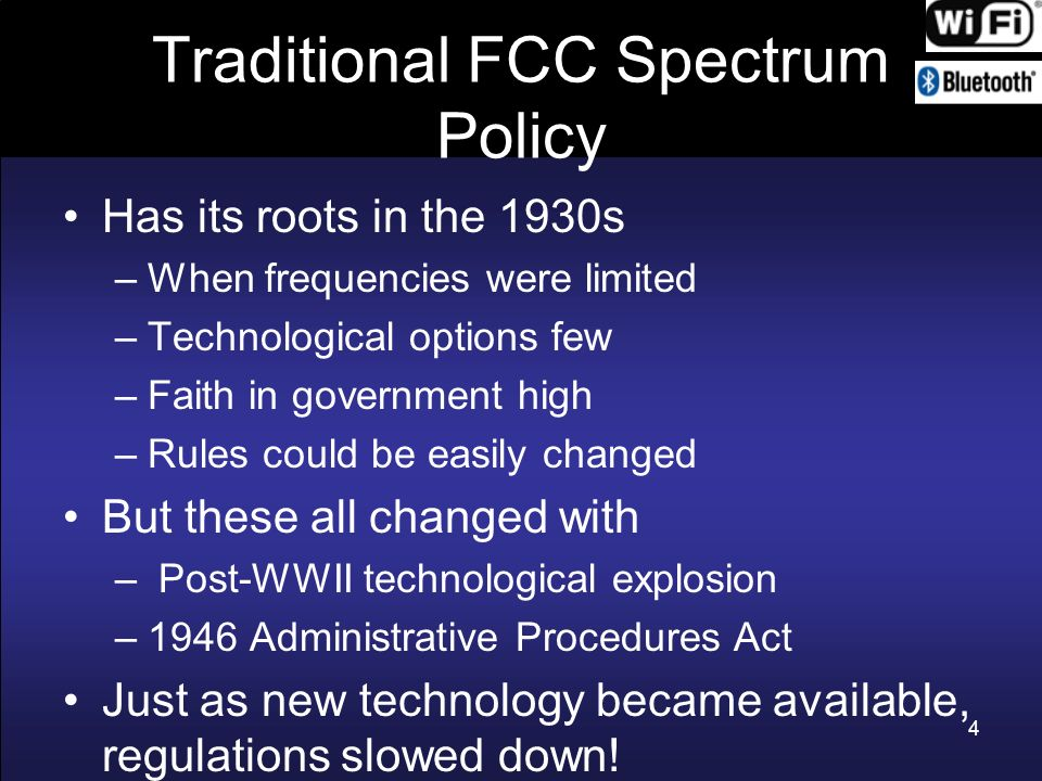 Traditional FCC Spectrum Policy FCC (and other spectrum regulators) traditionally depended on petitioners spelling out requirements and then specifying band and technology to meet such requirements Hard to impossible to keep up with technological change and needs of a changing society and economy 5