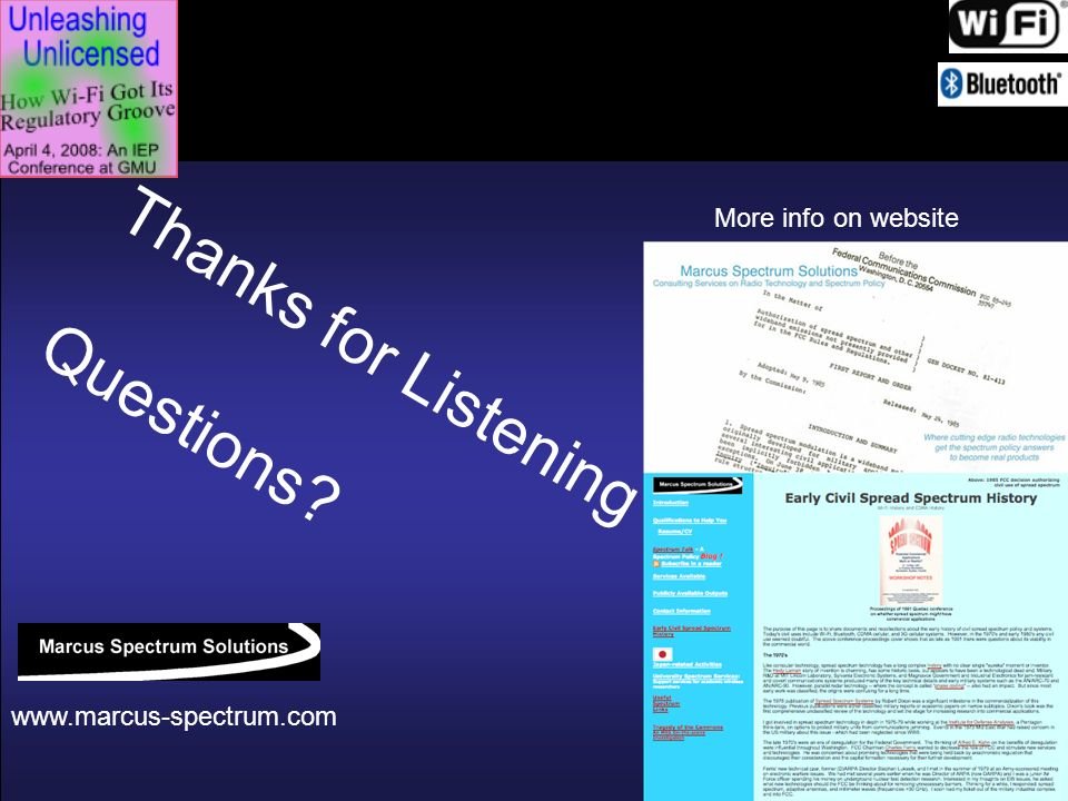 42 Thanks for Listening Questions? www.marcus-spectrum.com More info on website