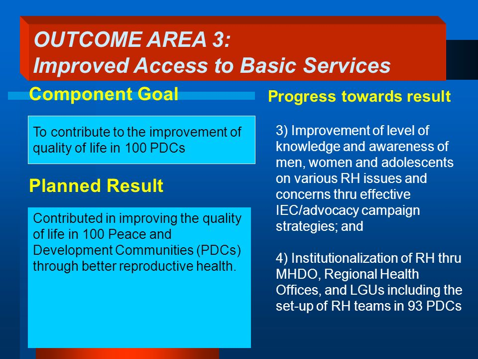 To contribute to the improvement of quality of life in 100 PDCs Planned Result 3) Improvement of level of knowledge and awareness of men, women and ad