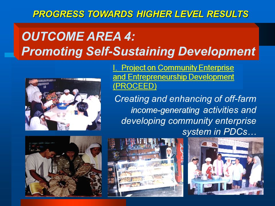 I. Project on Community Enterprise and Entrepreneurship Development (PROCEED) Creating and enhancing of off-farm income-generating activities and deve