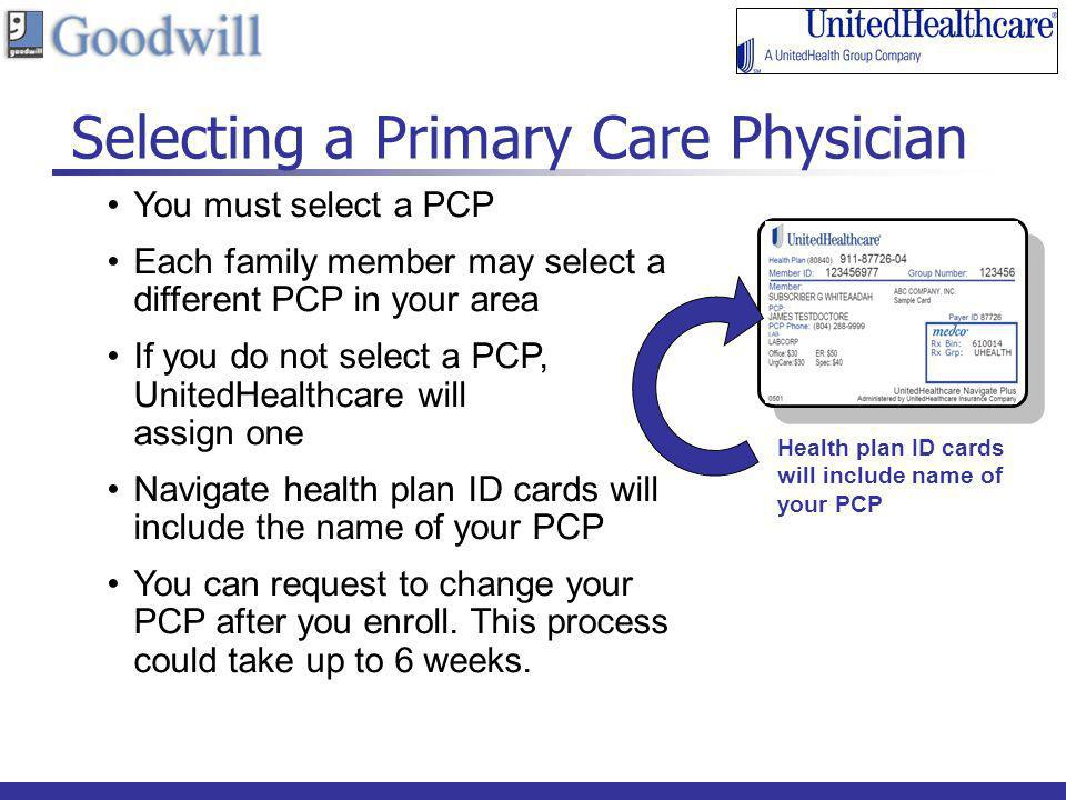 15 Selecting a Primary Care Physician You must select a PCP Each family member may select a different PCP in your area If you do not select a PCP, Uni