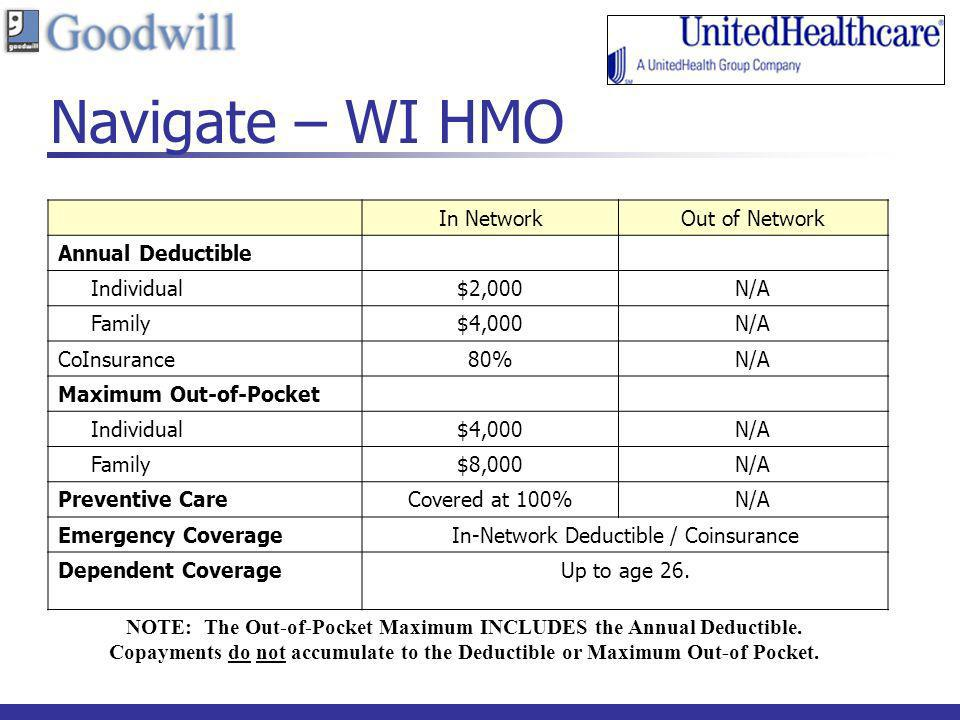 Navigate – WI HMO In NetworkOut of Network Annual Deductible Individual$2,000N/A Family$4,000N/A CoInsurance80%N/A Maximum Out-of-Pocket Individual$4,