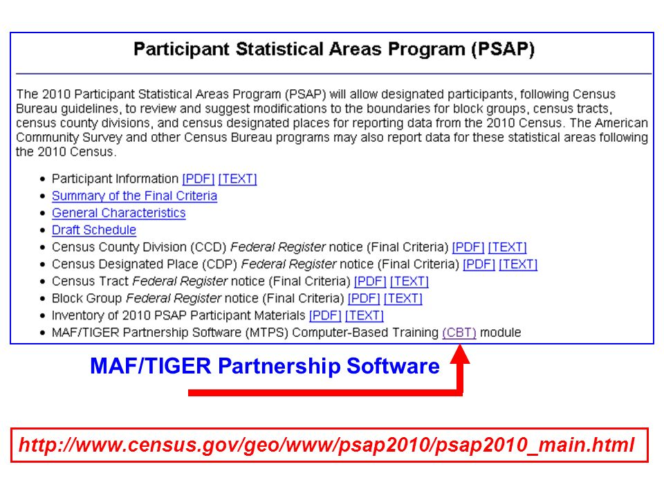 http://www.census.gov/geo/www/psap2010/psap2010_main.html MAF/TIGER Partnership Software