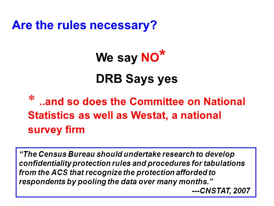 Are the rules necessary? We say NO * DRB Says yes *..and so does the Committee on National Statistics as well as Westat, a national survey firm The Ce