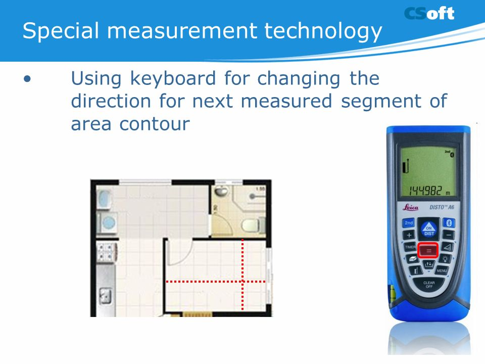 Special measurement technology Using keyboard for changing the direction for next measured segment of area contour