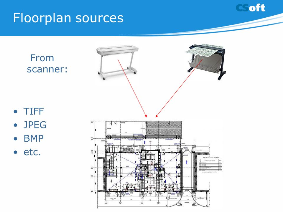 Floorplan sources TIFF JPEG BMP etc. From scanner: