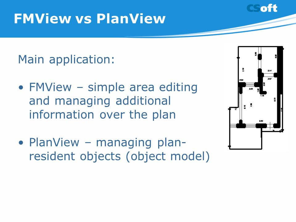 FMView vs PlanView Main application: FMView – simple area editing and managing additional information over the plan PlanView – managing plan- resident objects (object model)