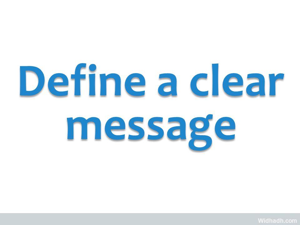 Widhadh.com Define a clear message