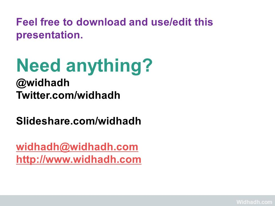 Widhadh.com Feel free to download and use/edit this presentation. Need anything? @widhadh Twitter.com/widhadh Slideshare.com/widhadh widhadh@widhadh.c