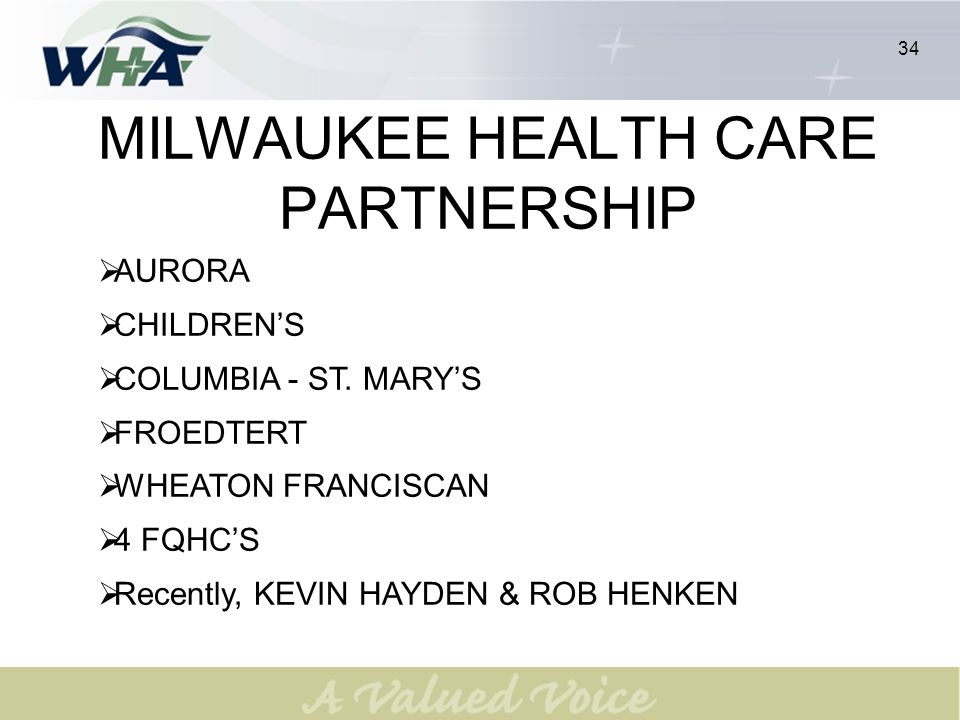 35 MHCP: IMPROVE HEALTH CARE FOR THE UNDERSERVED POPULATIONS IN MILWAUKEE COUNTY 36