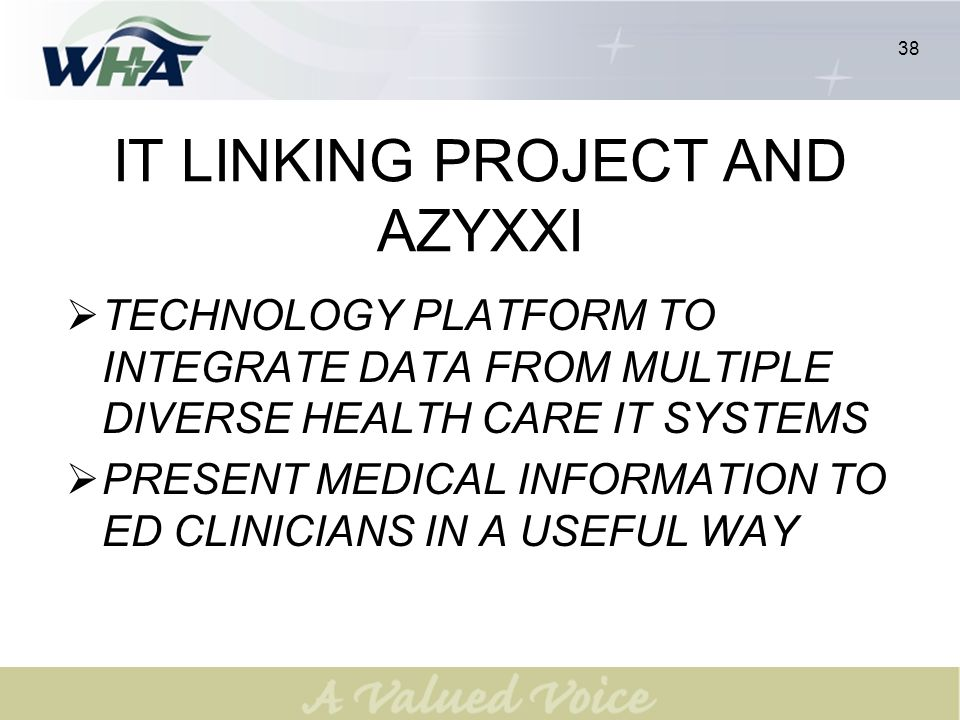 38 IT LINKING PROJECT AND AZYXXI TECHNOLOGY PLATFORM TO INTEGRATE DATA FROM MULTIPLE DIVERSE HEALTH CARE IT SYSTEMS PRESENT MEDICAL INFORMATION TO ED