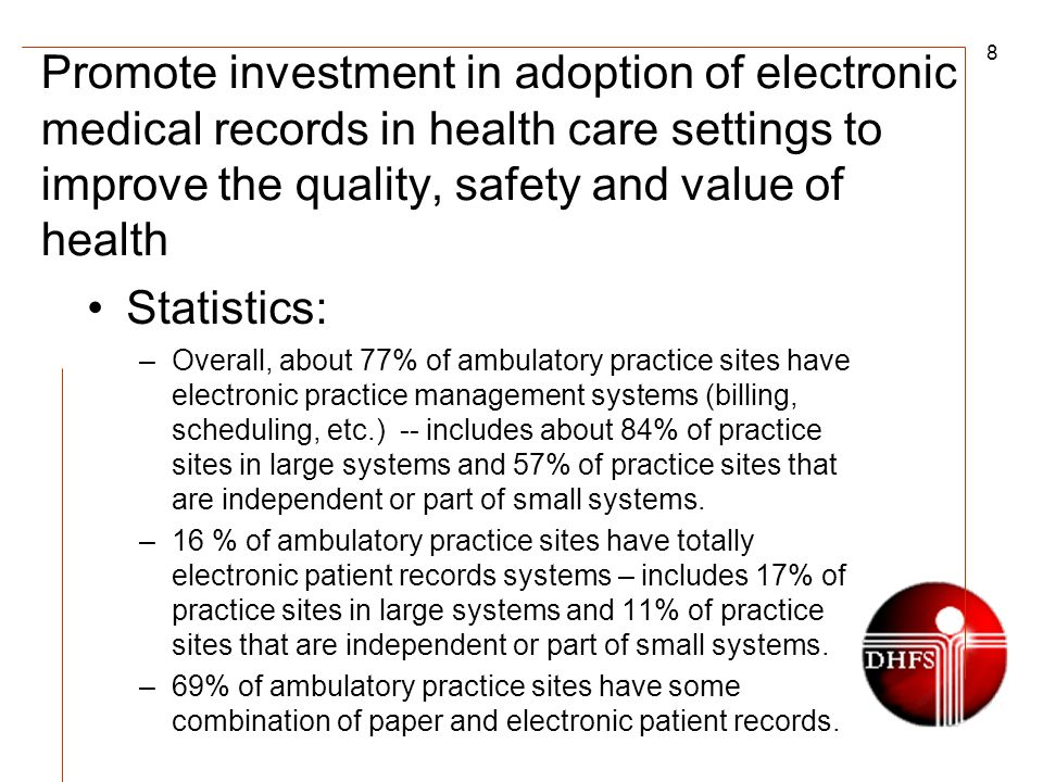 8 Promote investment in adoption of electronic medical records in health care settings to improve the quality, safety and value of health Statistics: