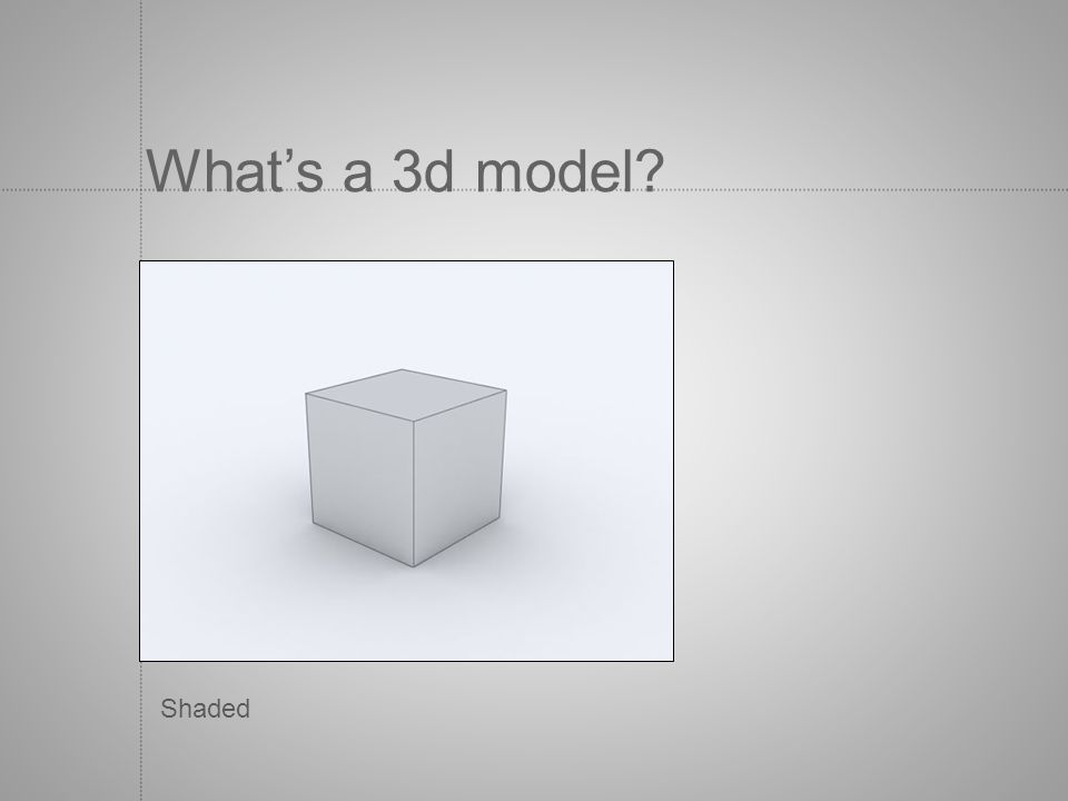 Whats a 3d model? Shaded