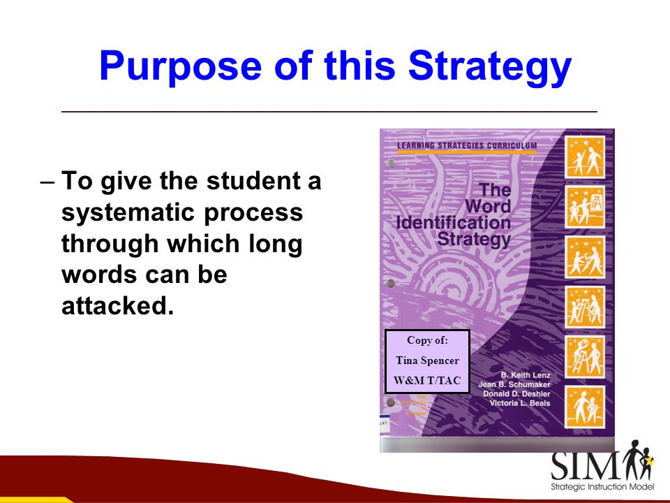 Purpose of this Strategy –To give the student a systematic process through which long words can be attacked. Copy of: Tina Spencer W&M T/TAC