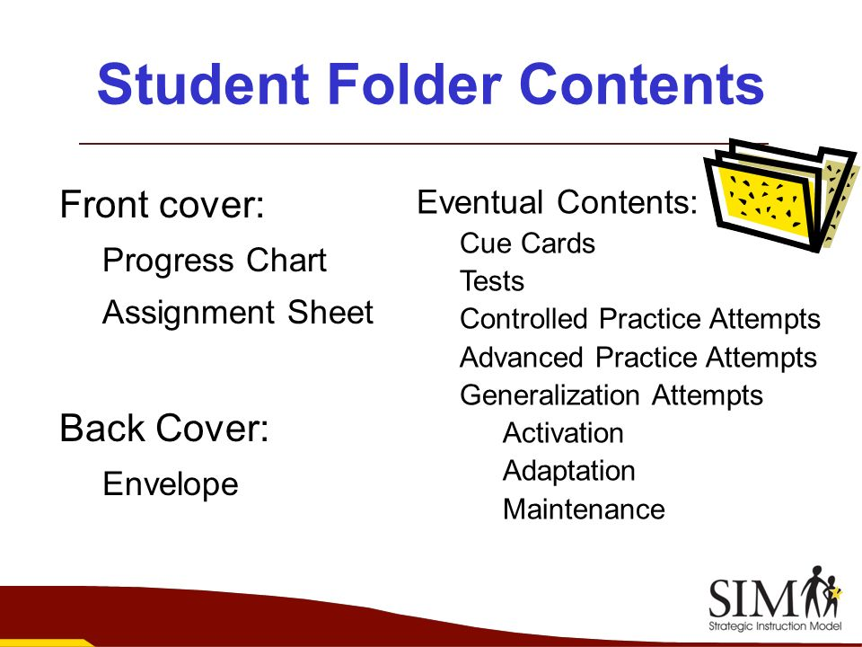 Student Folder Contents Front cover: Progress Chart Assignment Sheet Back Cover: Envelope Eventual Contents: Cue Cards Tests Controlled Practice Attem