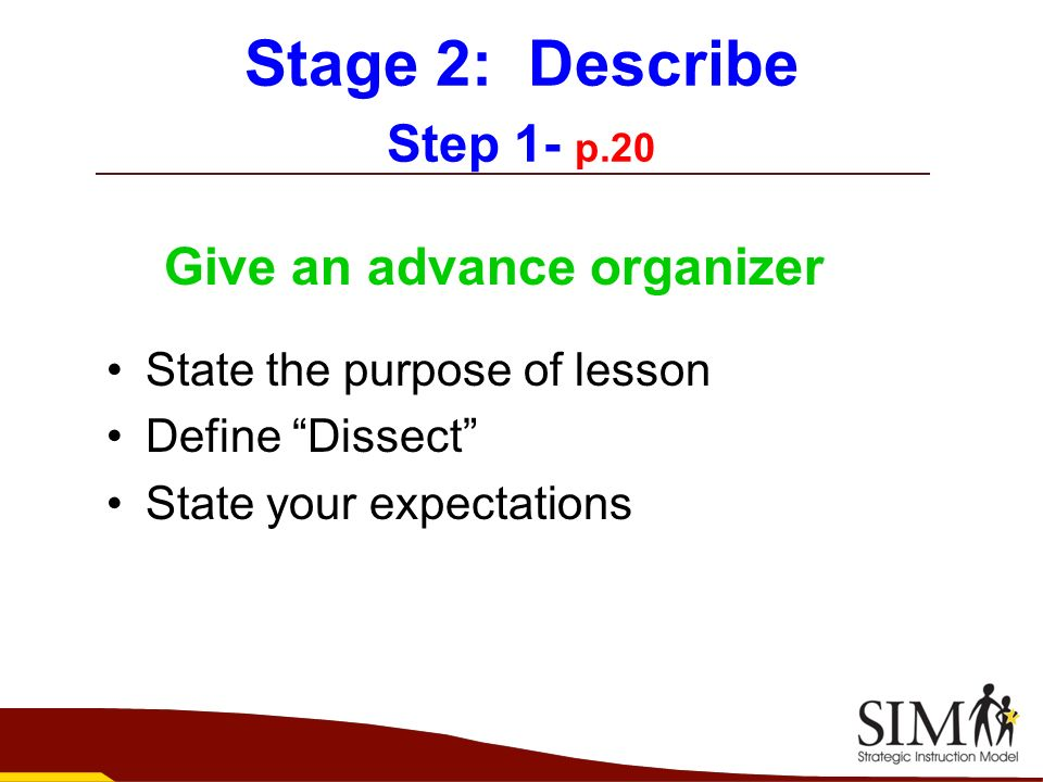 Stage 2: Describe Step 1- p.20 Give an advance organizer State the purpose of lesson Define Dissect State your expectations