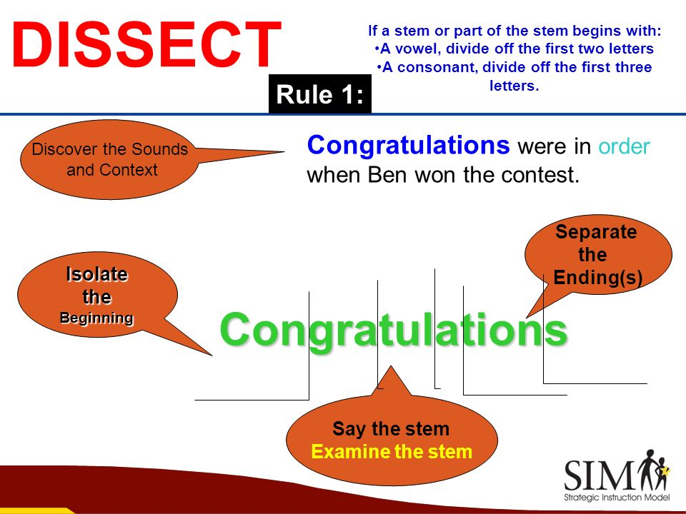 DISSECTIsolate the theBeginning Congratulations Congratulations were in order when Ben won the contest. Separate the Ending(s) Discover the Sounds and