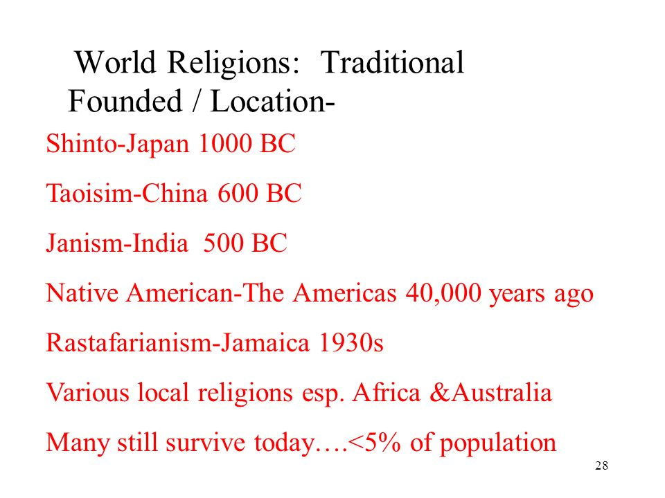 28 World Religions: Traditional Founded / Location- Shinto-Japan 1000 BC Taoisim-China 600 BC Janism-India 500 BC Native American-The Americas 40,000 years ago Rastafarianism-Jamaica 1930s Various local religions esp.