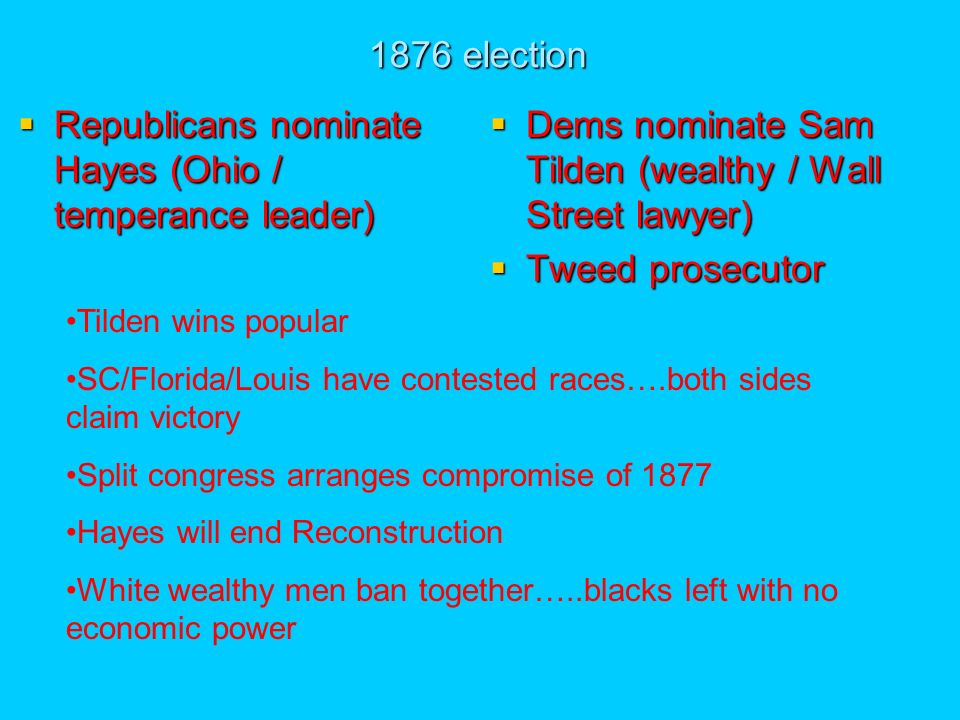 1876 election Republicans nominate Hayes (Ohio / temperance leader) Republicans nominate Hayes (Ohio / temperance leader) Dems nominate Sam Tilden (wealthy / Wall Street lawyer) Dems nominate Sam Tilden (wealthy / Wall Street lawyer) Tweed prosecutor Tweed prosecutor Tilden wins popular SC/Florida/Louis have contested races….both sides claim victory Split congress arranges compromise of 1877 Hayes will end Reconstruction White wealthy men ban together…..blacks left with no economic power