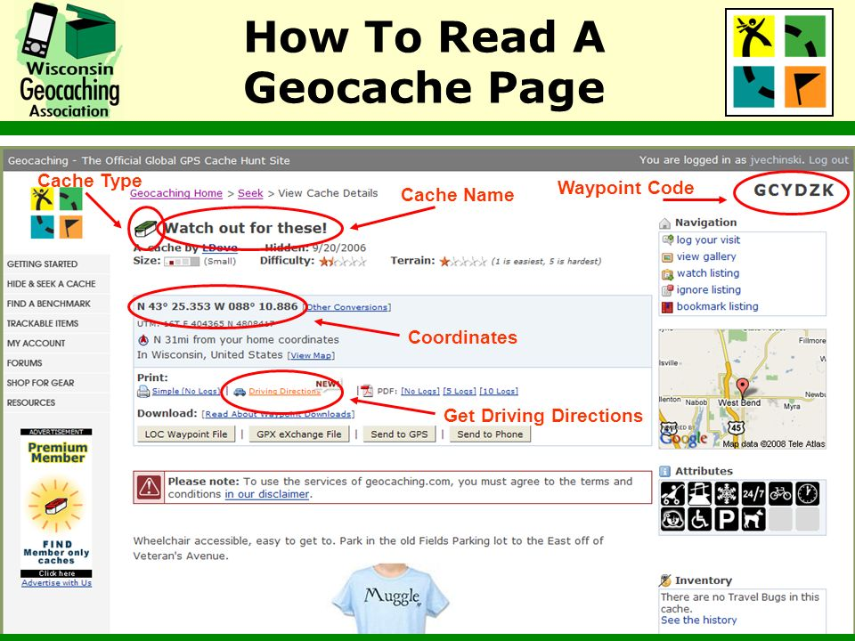 How To Read A Geocache Page Cache Name Waypoint Code Cache Type Coordinates Get Driving Directions
