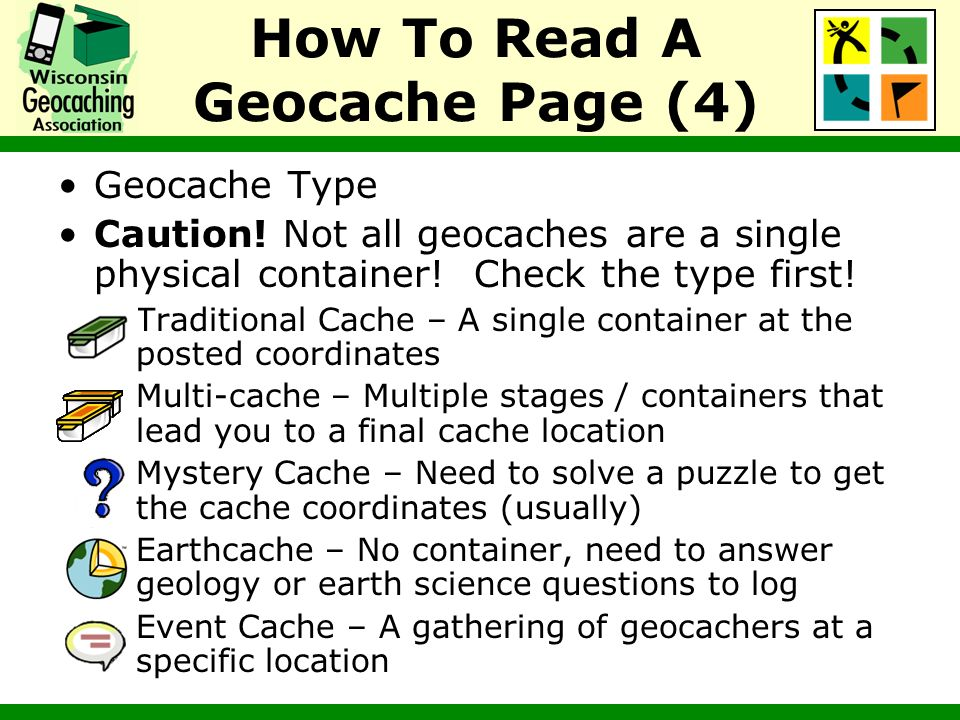 Geocache Type Caution! Not all geocaches are a single physical container! Check the type first! –Traditional Cache – A single container at the posted