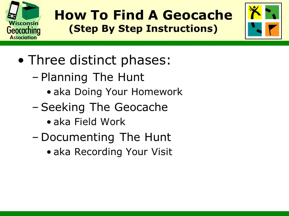 Log Geocache Find On geocaching.com Logging your find online is useful because: –Allows you to share your adventures with other geocachers –Lets the owner know the geocache is OK –Provides you with a record of what geocaches youve found Log into geocaching.com Return to the geocache page for the geocache you found –Enter waypoint code on the home page Click on the log your visit link in the upper right hand corner Enter log entry and submit