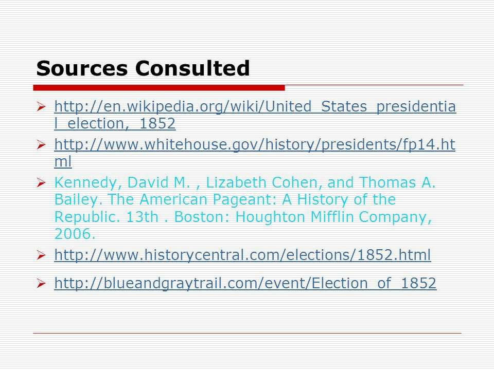 Sources Consulted http://en.wikipedia.org/wiki/United_States_presidentia l_election,_1852 http://en.wikipedia.org/wiki/United_States_presidentia l_ele