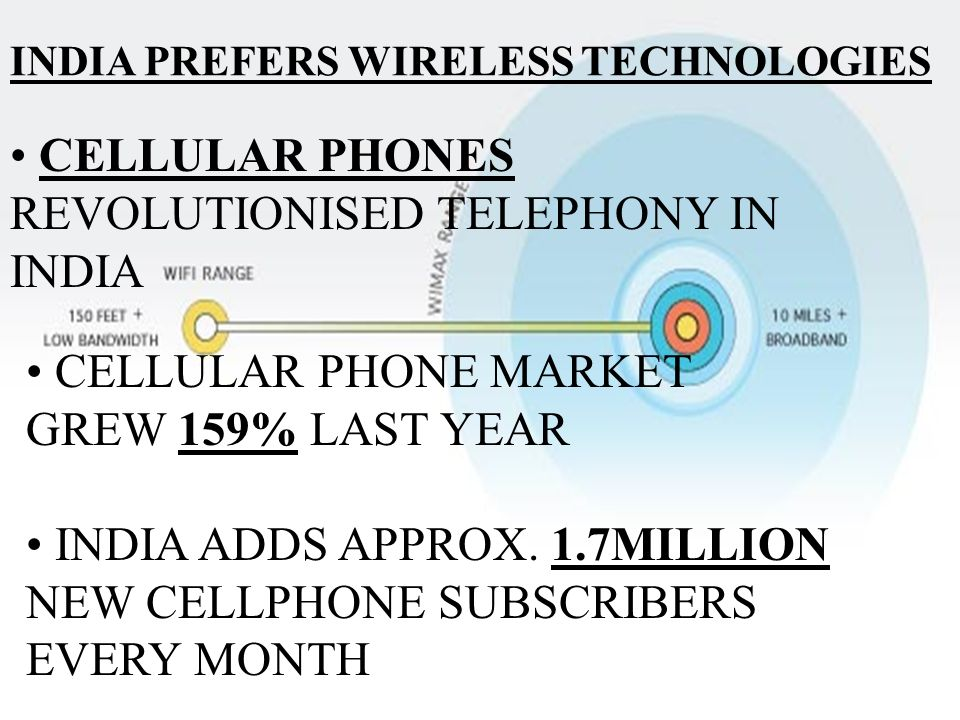 INDIA PREFERS WIRELESS TECHNOLOGIES CELLULAR PHONES REVOLUTIONISED TELEPHONY IN INDIA CELLULAR PHONE MARKET GREW 159% LAST YEAR INDIA ADDS APPROX.