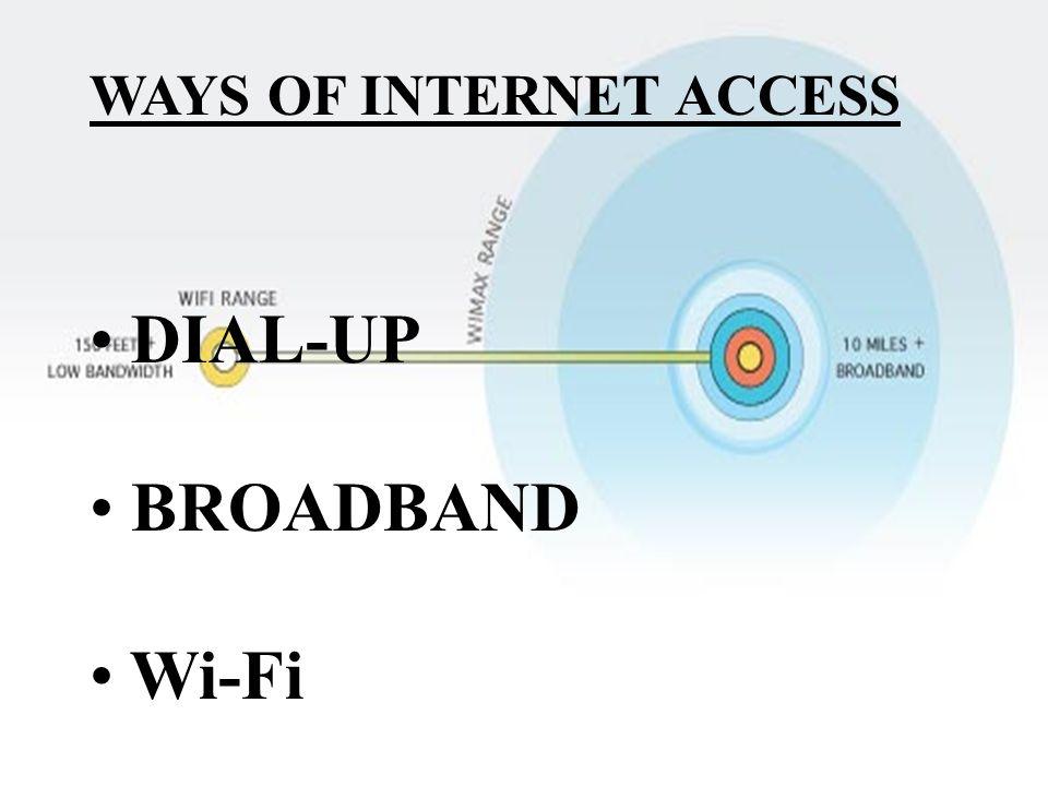 WAYS OF INTERNET ACCESS DIAL-UP BROADBAND Wi-Fi