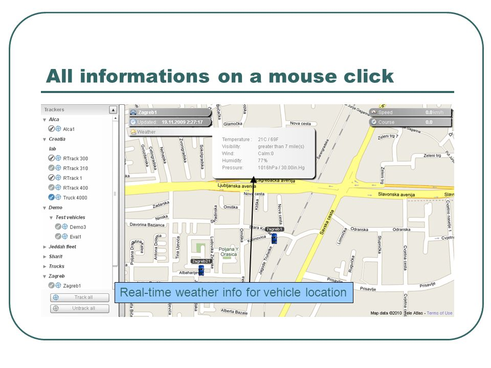 All informations on a mouse click Real-time weather info for vehicle location