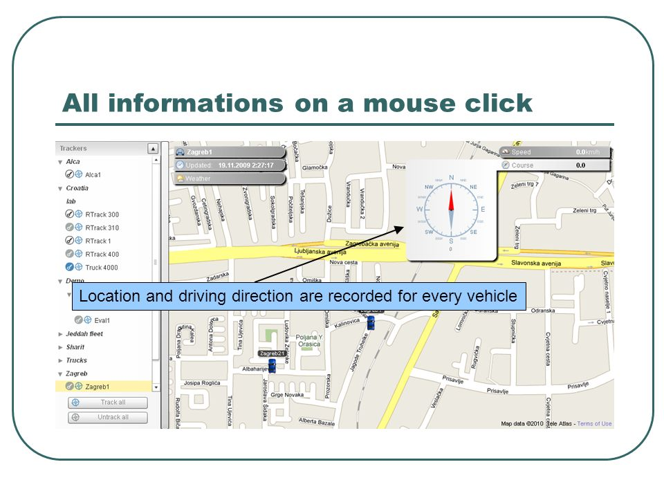 All informations on a mouse click Location and driving direction are recorded for every vehicle