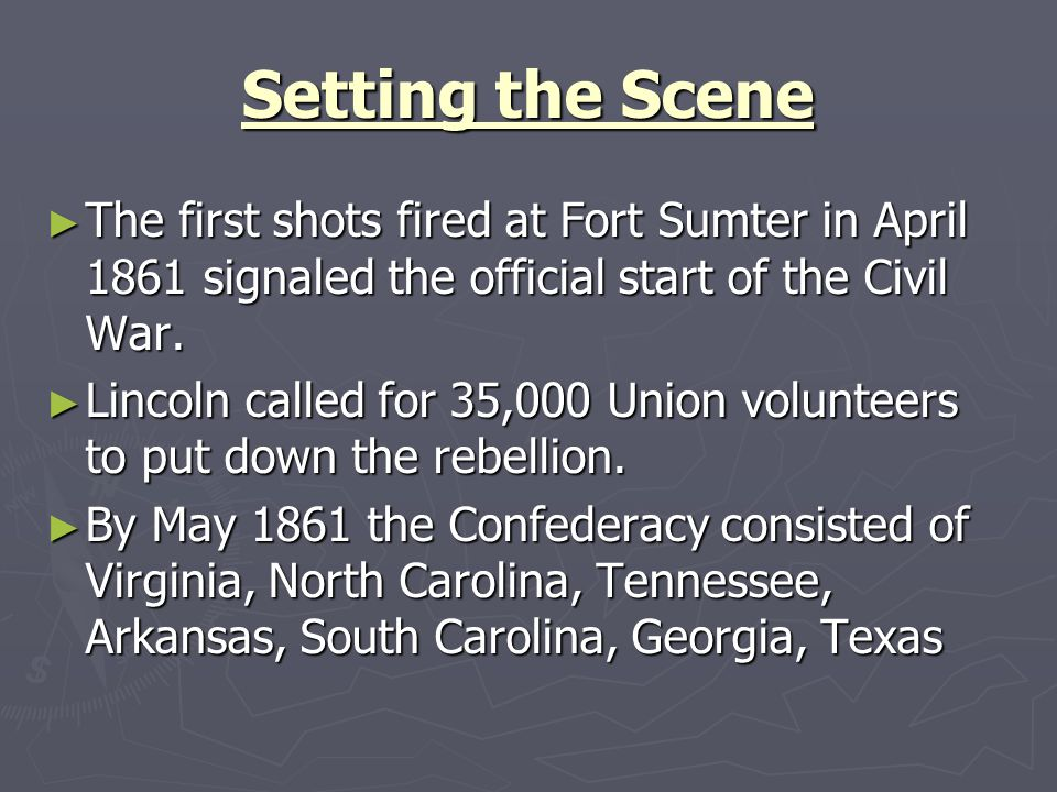 The First Battle of Bull Run General Irwin McDowell was named the first commanding general of the Union Army; he was reluctant to fight, and complained to Lincoln that men were poorly prepared.