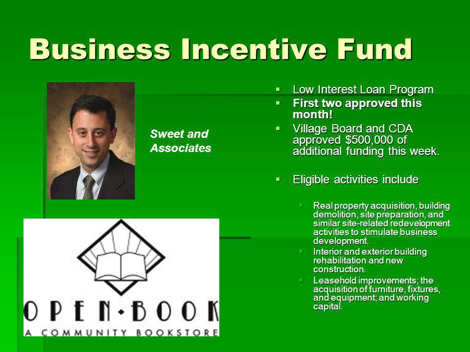 Business Incentive Fund Low Interest Loan Program Low Interest Loan Program First two approved this month! First two approved this month! Village Boar