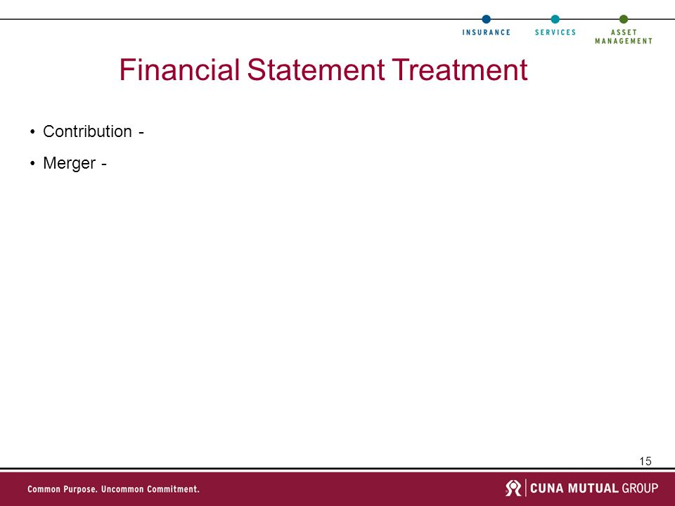 15 Financial Statement Treatment Contribution - Merger -