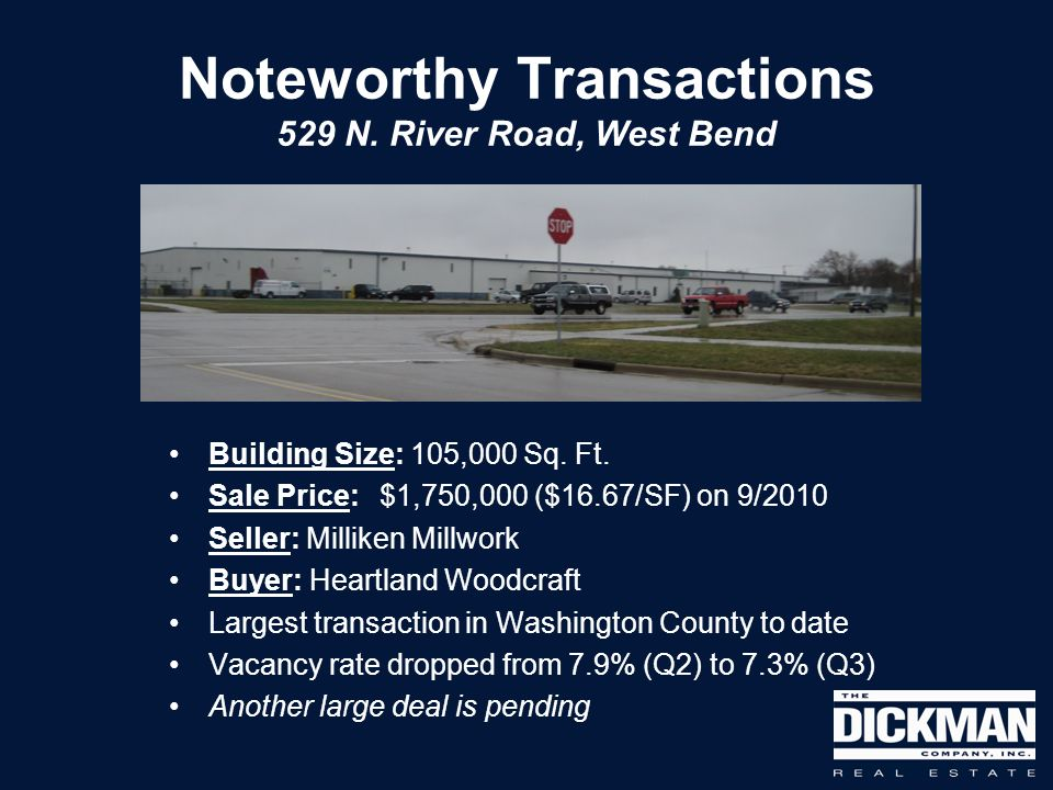 Noteworthy Transactions 529 N. River Road, West Bend Building Size: 105,000 Sq. Ft. Sale Price: $1,750,000 ($16.67/SF) on 9/2010 Seller: Milliken Mill
