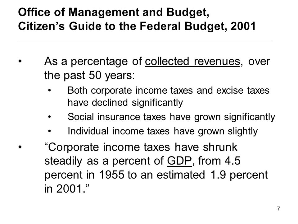6 Comparative tax burdens as a percentage of total collected revenues (Source: OECD in Figures, 2001) Personal income tax plus employee portion of soc