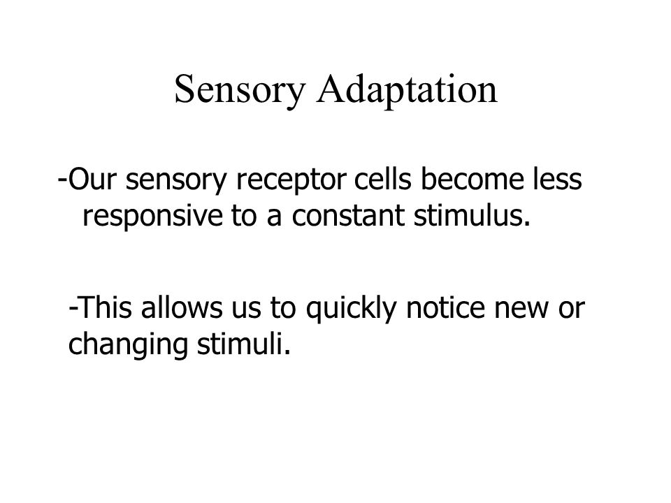 Sensory Adaptation -Our sensory receptor cells become less responsive to a constant stimulus. -This allows us to quickly notice new or changing stimul