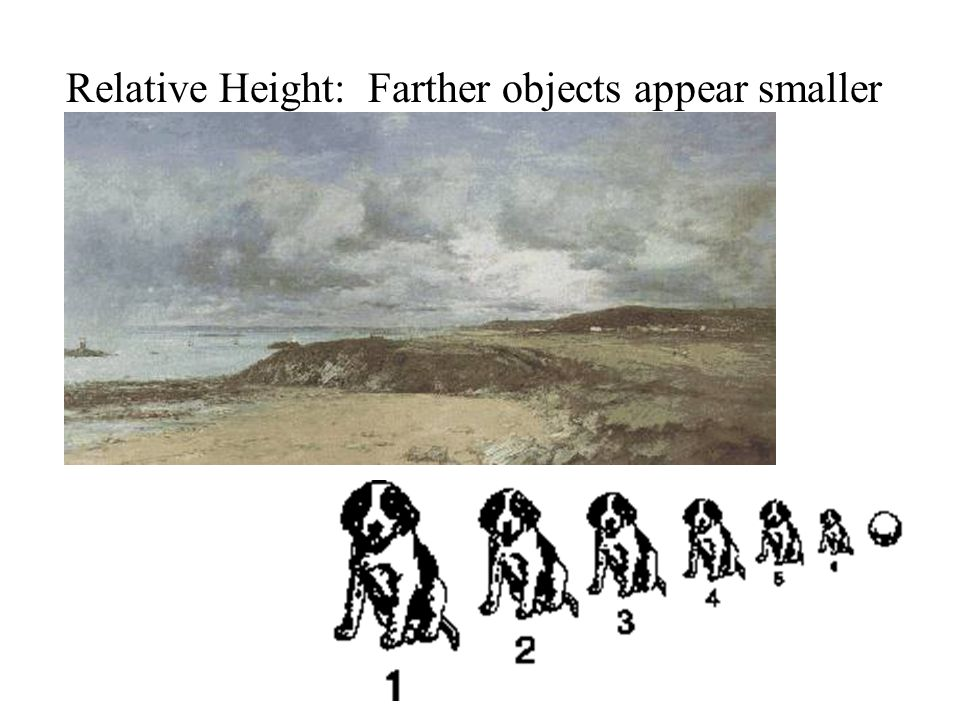 Relative Height: Farther objects appear smaller